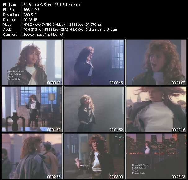 Screenshot of Music Video Brenda K. Starr - I Still Believe