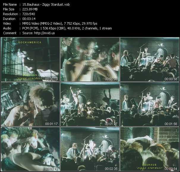 Screenshot of Music Video Bauhaus - Ziggy Stardust