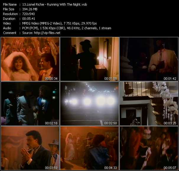 Screenshot of Music Video Lionel Richie - Running With The Night