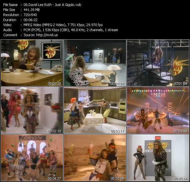 Screenshot of Music Video David Lee Roth - Just A Gigolo