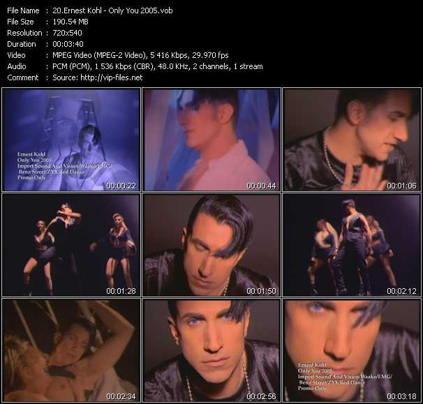 Screenshot of Music Video Ernest Kohl - Only You 2005