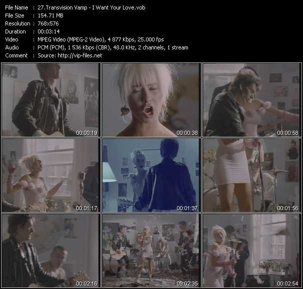 Screenshot of Music Video Transvision Vamp - I Want Your Love
