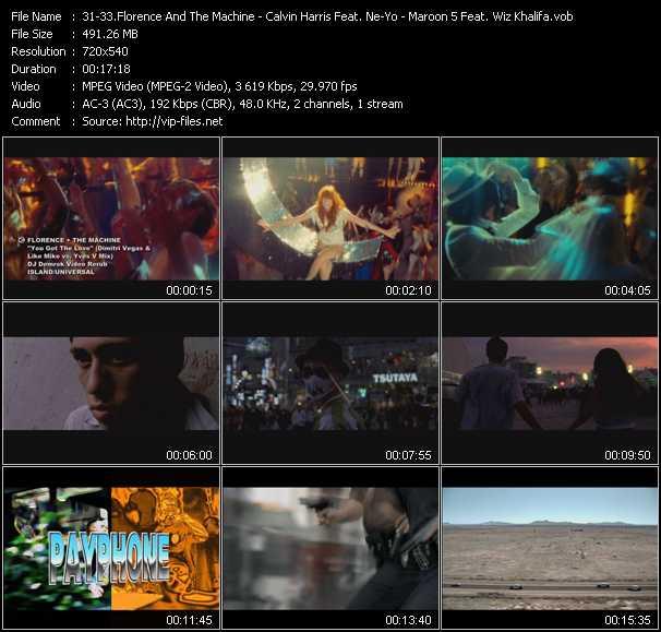 Florence And The Machine - Calvin Harris Feat. Ne-Yo - Maroon 5 Feat. Wiz Khalifa video vob