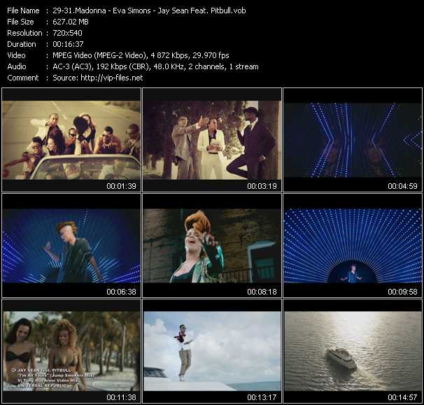 Madonna - Eva Simons - Jay Sean Feat. Pitbull видеоклип vob
